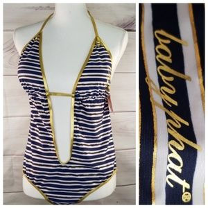 🆕️ Baby Phat Women's Striped Swimsuit Size XL